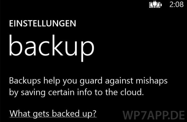 backup in windows phone 8