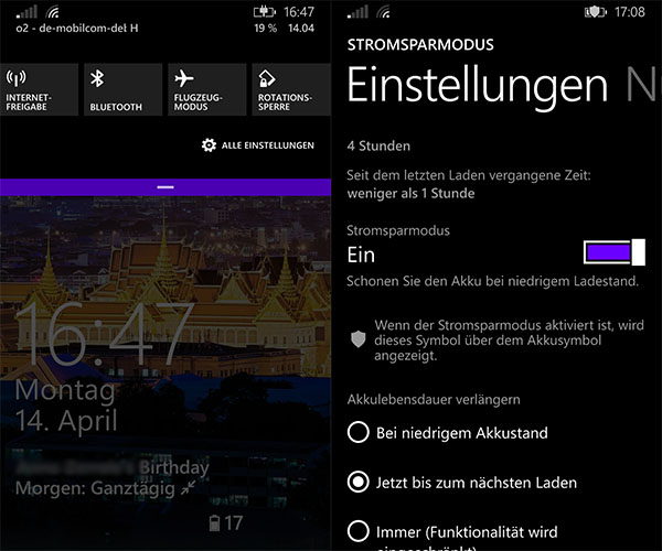Windows Phone 8.1 Statusleiste Screenshots